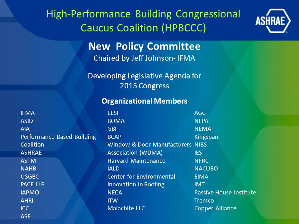 High-Performance Building Congressional Caucus Coalition (HPBCCC) New Policy Committee Chaired by Jeff Johnson- IFMA Developing Legislative Agenda for 2015 Congress Organizational Members IFMA ASID AIA Performance Based Building Coalition ASHRAE ASTM NAHB USGBC PACE LLP IAPMO AHRI ICC ASE EESI BOMA GBI BCAP Window & Door Manufacturers Association (WDMA) Harvard Maintenance IALD Center for Environmental Innovation in Roofing NECA ITW Malachite LLC AGC NFPA NEMA Kingspan NIBS IES NFRC NACUBO EIMA IMT Passive House Institute Tremco Copper Alliance