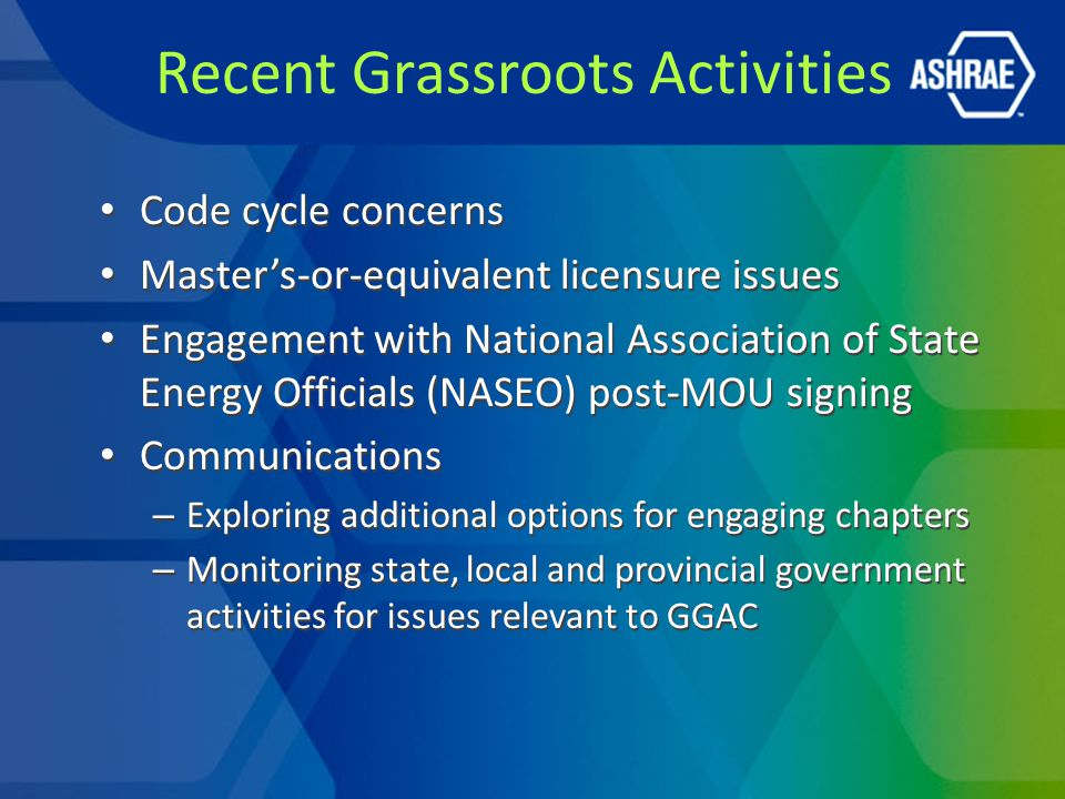 Recent Grassroots Activities Code cycle concerns Master's-or-equivalent licensure issues Engagement with National Association of State Energy Officials (NASEO) post-MOU signing Communications – Exploring additional options for engaging chapters – Monitoring state, local and provincial government activities for issues relevant to GGAC Code cycle concerns Master's-or-equivalent licensure issues Engagement with National Association of State Energy Officials (NASEO) post-MOU signing Communications – Exploring additional options for engaging chapters – Monitoring state, local and provincial government activities for issues relevant to GGAC