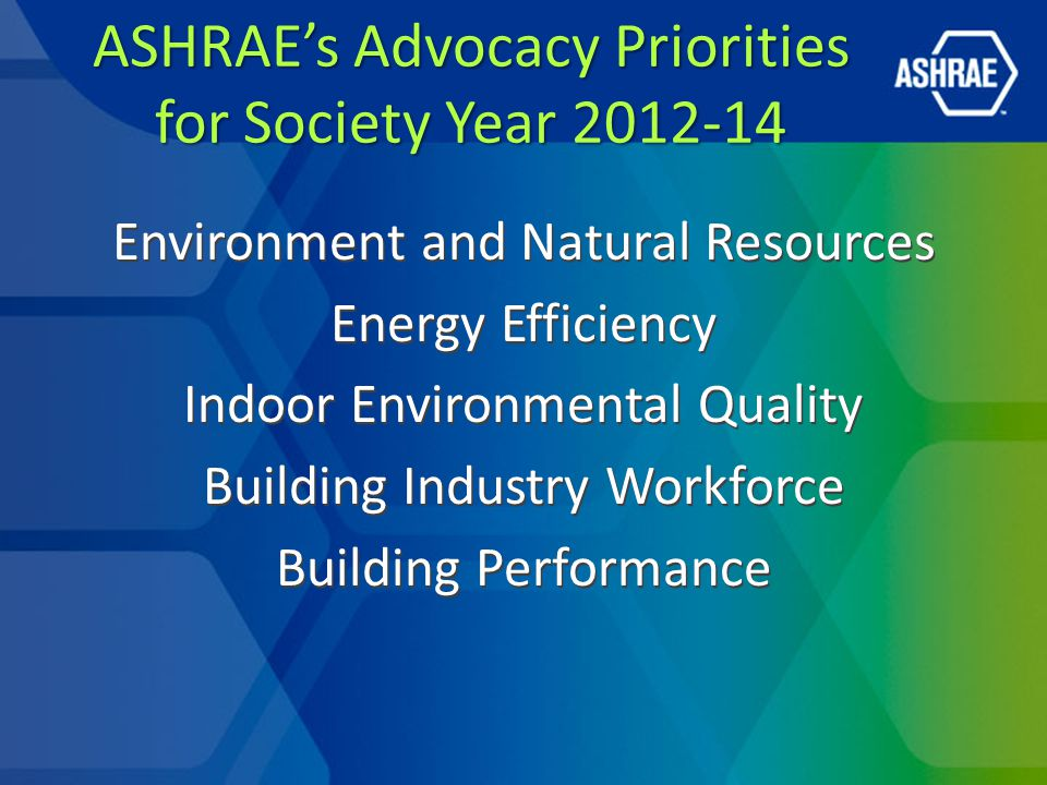 ASHRAE Issues in Congress Safe Building Code Incentive Act Tax Reform and Extension ESPC Scoring Reauthorization of the America COMPETES Act Reauthorization of the Workforce Investment Act Appropriations