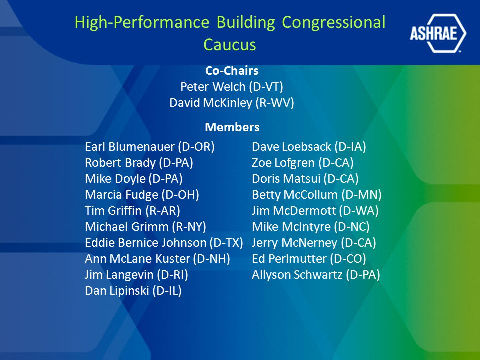 Earl Blumenauer (D-OR) Robert Brady (D-PA) Mike Doyle (D-PA) Marcia Fudge (D-OH) Tim Griffin (R-AR) Michael Grimm (R-NY) Eddie Bernice Johnson (D-TX)