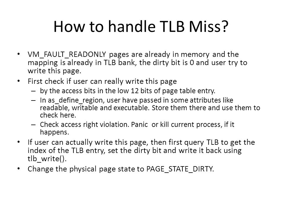 How to handle TLB Miss.