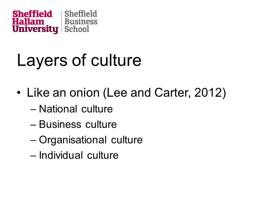 Layers of culture Like an onion (Lee and Carter, 2012) –National culture –Business culture –Organisational culture –Individual culture