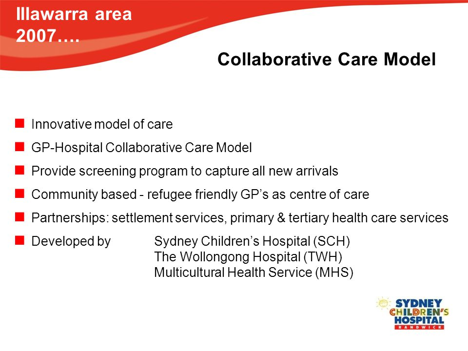 Illawarra area 2007…. Innovative model of care GP-Hospital Collaborative Care Model Provide screening program to capture all new arrivals Community ba