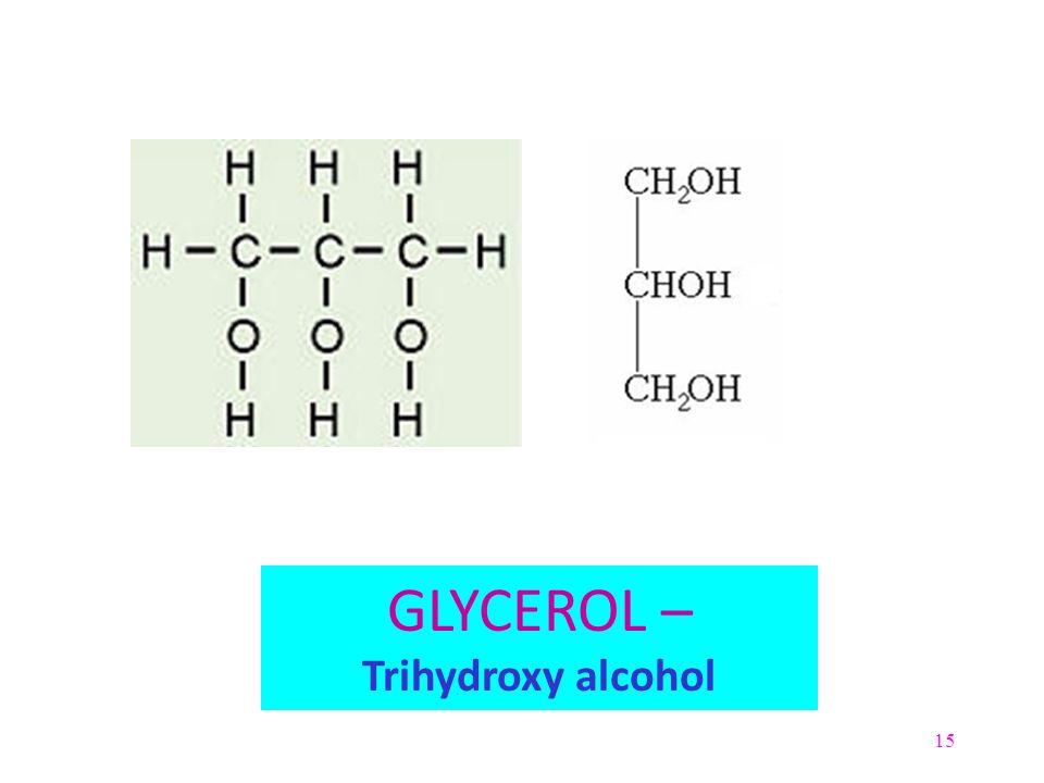 15 GLYCEROL – Trihydroxy alcohol