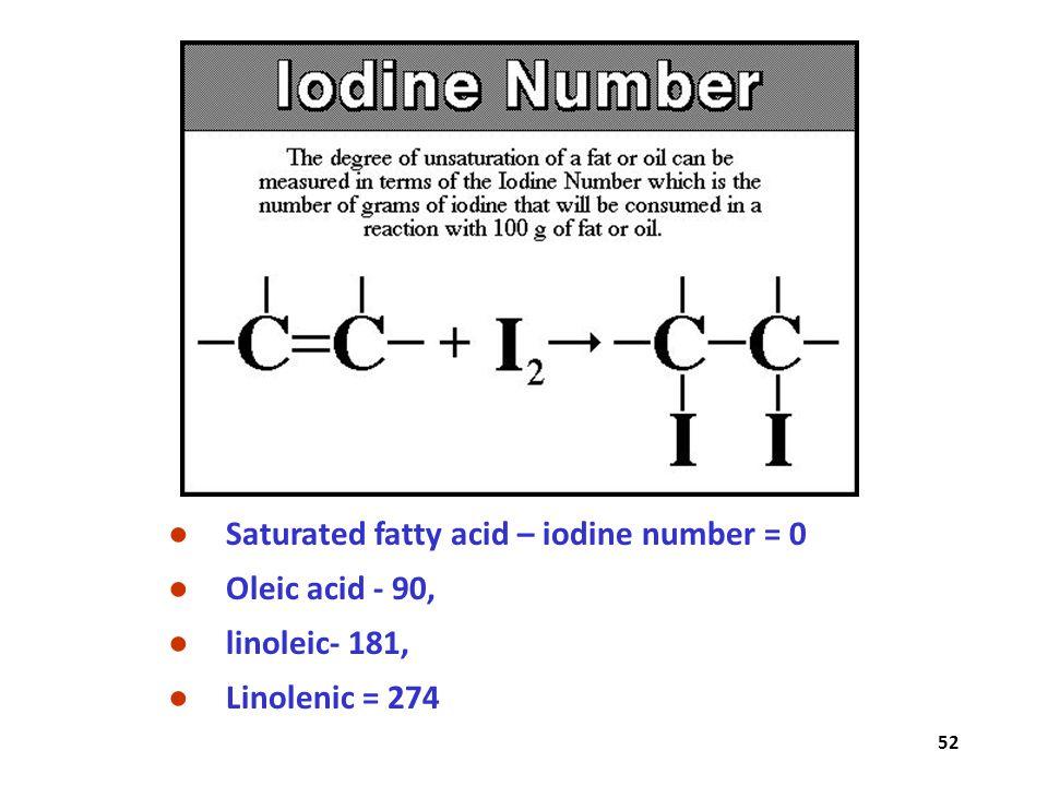 52 ● Saturated fatty acid – iodine number = 0 ● Oleic acid - 90, ● linoleic- 181, ● Linolenic = 274