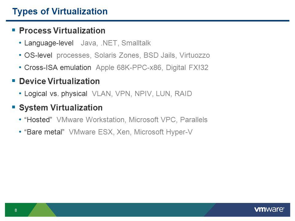 8 Types of Virtualization  Process Virtualization Language-level Java,.NET, Smalltalk OS-level processes, Solaris Zones, BSD Jails, Virtuozzo Cross-ISA emulation Apple 68K-PPC-x86, Digital FX!32  Device Virtualization Logical vs.