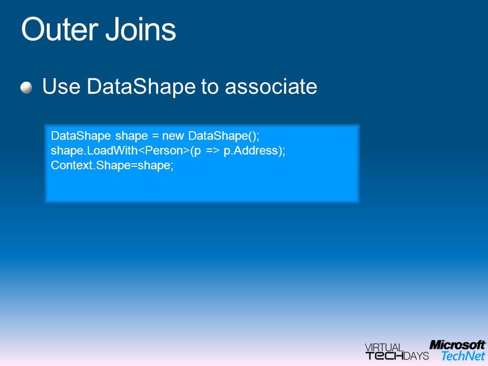 Outer Joins Use DataShape to associate DataShape shape = new DataShape(); shape.LoadWith (p => p.Address); Context.Shape=shape;