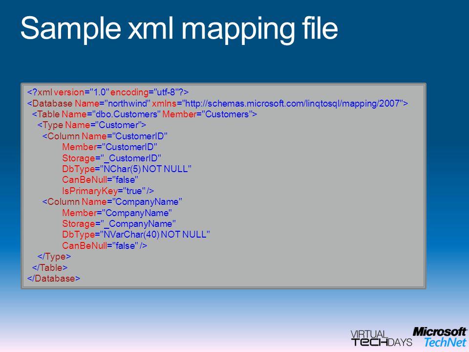Sample xml mapping file <Column Name= CustomerID Member= CustomerID Storage= _CustomerID DbType= NChar(5) NOT NULL CanBeNull= false IsPrimaryKey= true /> <Column Name= CompanyName Member= CompanyName Storage= _CompanyName DbType= NVarChar(40) NOT NULL CanBeNull= false />