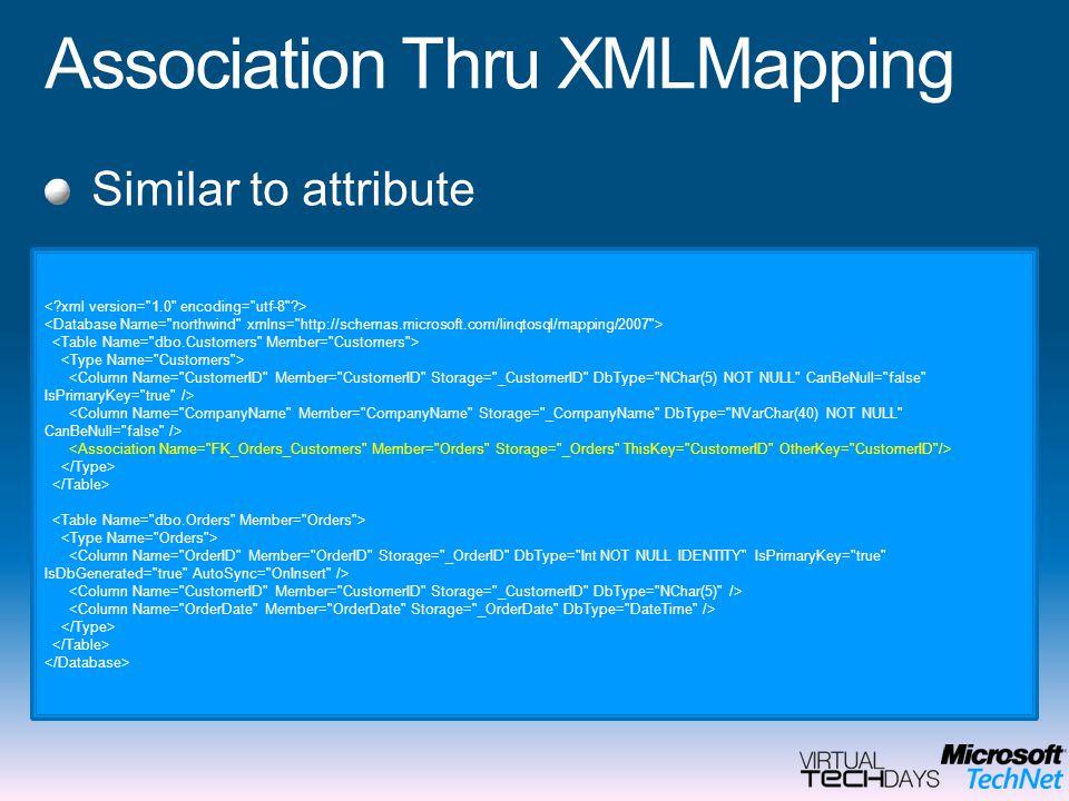 Association Thru XMLMapping Similar to attribute