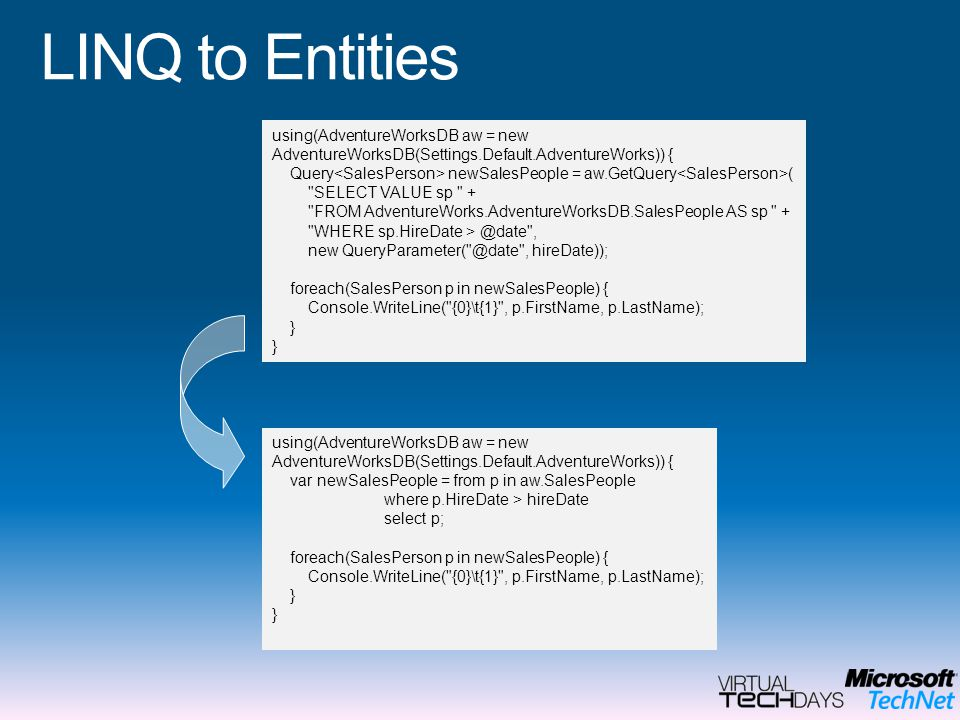 LINQ to Entities using(AdventureWorksDB aw = new AdventureWorksDB(Settings.Default.AdventureWorks)) { Query newSalesPeople = aw.GetQuery ( SELECT VALUE sp + FROM AdventureWorks.AdventureWorksDB.SalesPeople AS sp + WHERE sp.HireDate > @date , new QueryParameter( @date , hireDate)); foreach(SalesPerson p in newSalesPeople) { Console.WriteLine( {0}\t{1} , p.FirstName, p.LastName); } using(AdventureWorksDB aw = new AdventureWorksDB(Settings.Default.AdventureWorks)) { var newSalesPeople = from p in aw.SalesPeople where p.HireDate > hireDate select p; foreach(SalesPerson p in newSalesPeople) { Console.WriteLine( {0}\t{1} , p.FirstName, p.LastName); }
