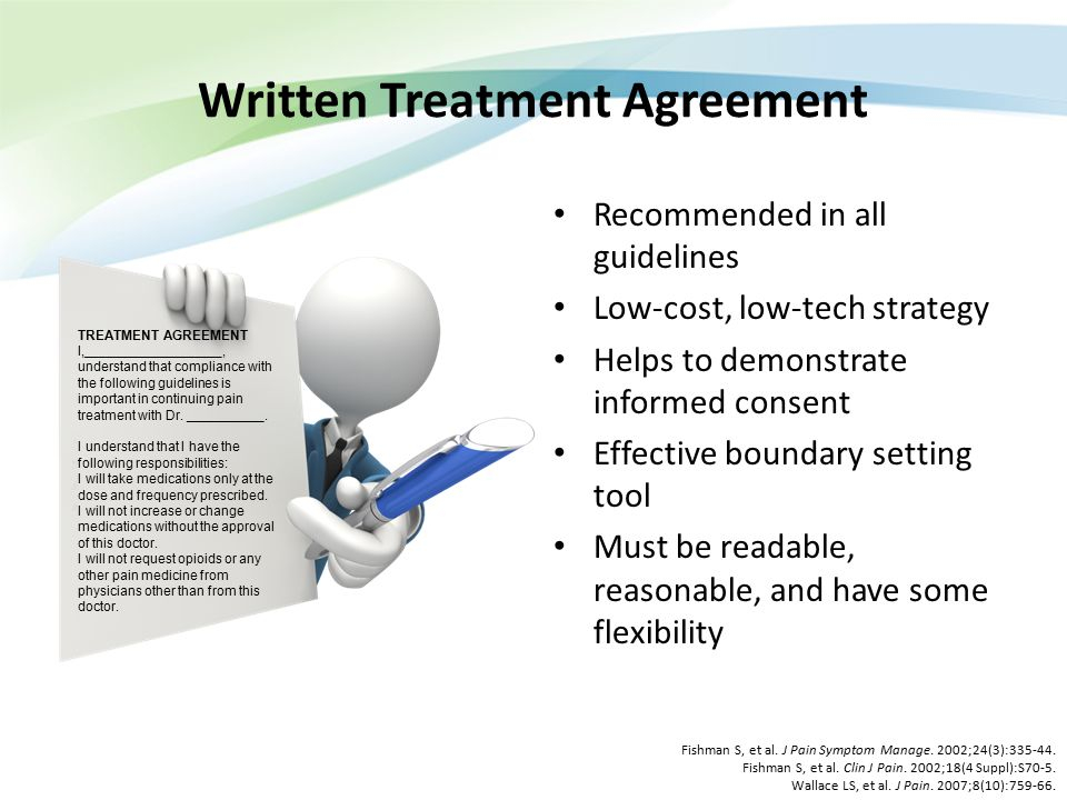 Written Treatment Agreement Recommended in all guidelines Low-cost, low-tech strategy Helps to demonstrate informed consent Effective boundary setting