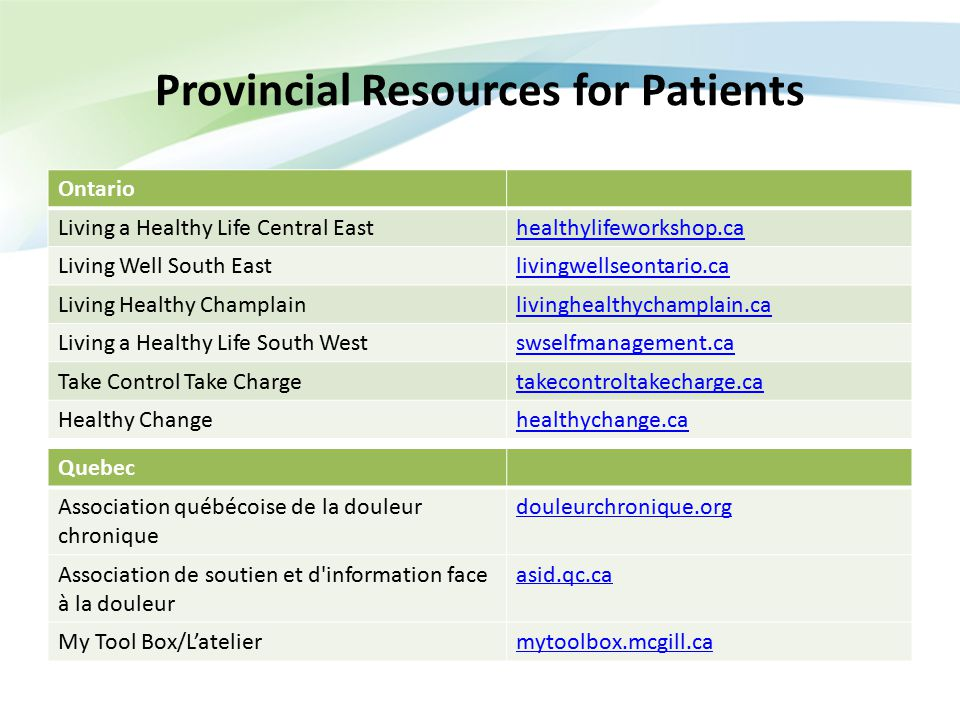 Provincial Resources for Patients Ontario Living a Healthy Life Central Easthealthylifeworkshop.ca Living Well South Eastlivingwellseontario.ca Living