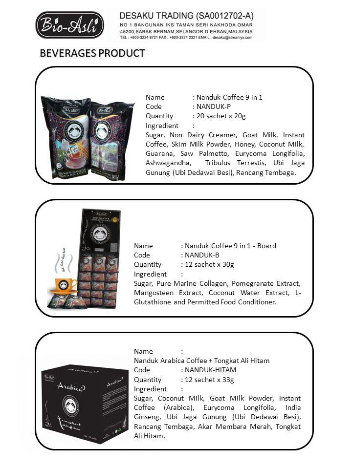 Name: Nanduk Arabica Coffee + Tongkat Ali Hitam Code: NANDUK-HITAM Quantity: 12 sachet x 33g Ingredient: Sugar, Coconut Milk, Goat Milk Powder, Instant Coffee (Arabica), Eurycoma Longifolia, India Ginseng, Ubi Jaga Gunung (Ubi Dedawai Besi), Rancang Tembaga, Akar Membara Merah, Tongkat Ali Hitam.