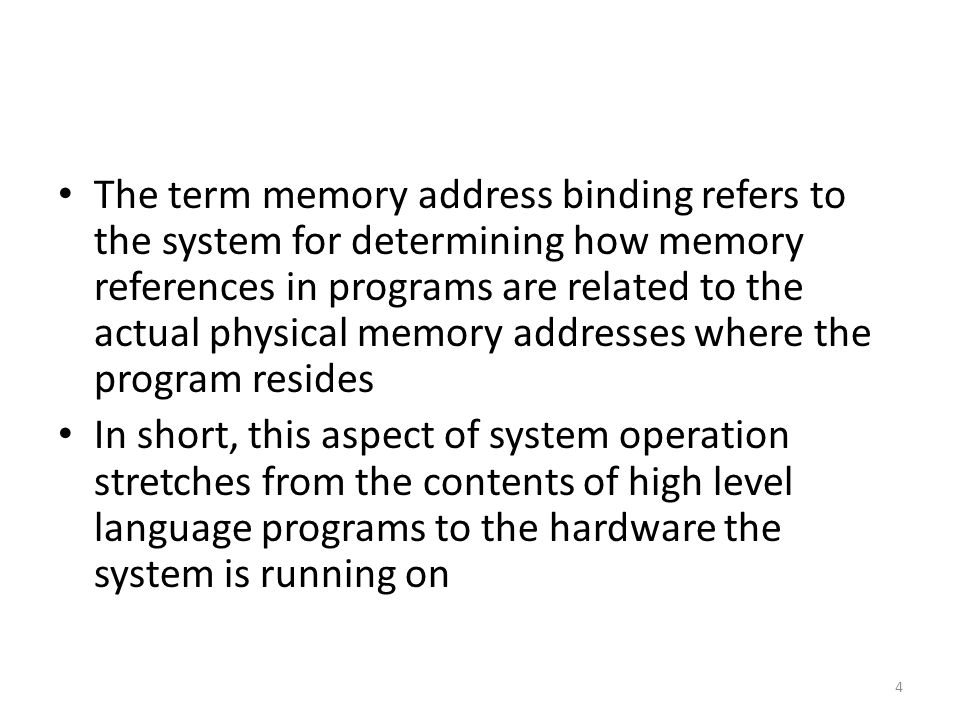 The important thing to note is this: This structure provides a way of accessing the whole address space Now consider this: It is possible to have a 64 bit architecture machine, for example, without having 2 64 bytes of installed memory Even if you have maximum memory installed, it would not be in order to accommodate a single process that required that much memory The purpose would be to support multi-tasking, with each process getting a portion of the memory 105
