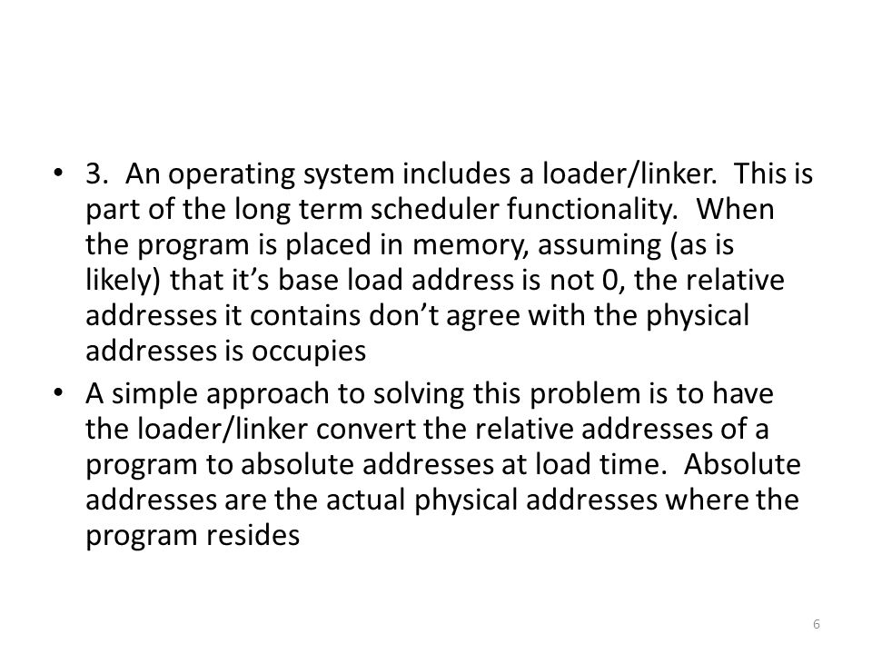 Suppose a program ran sequentially and could be broken into two halves where no loop or if reached from the second half back to the first Suppose that the system provided a facility so that a running program could load an executable image into its memory space This is reminiscent of forking where the fork() is followed by an exec() 27