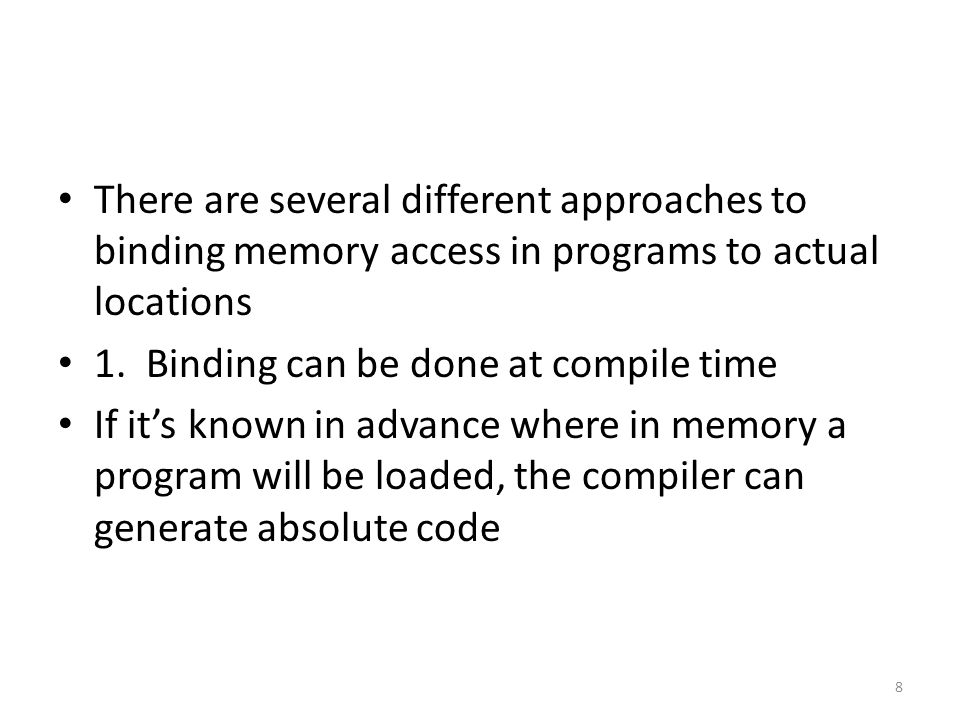 The previous discussion illustrated addressing in a very basic way What follows are some historical enhancements, some of which led to the characteristics of complete, modern memory management schemes Dynamic loading is a precursor to paging, but it isn't efficient enough for a modern environment It is reminiscent of medium term scheduling 19