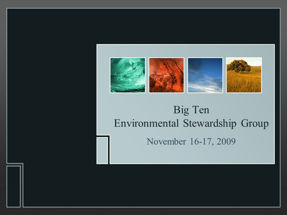 Big Ten Environmental Stewardship Group November 16-17, 2009