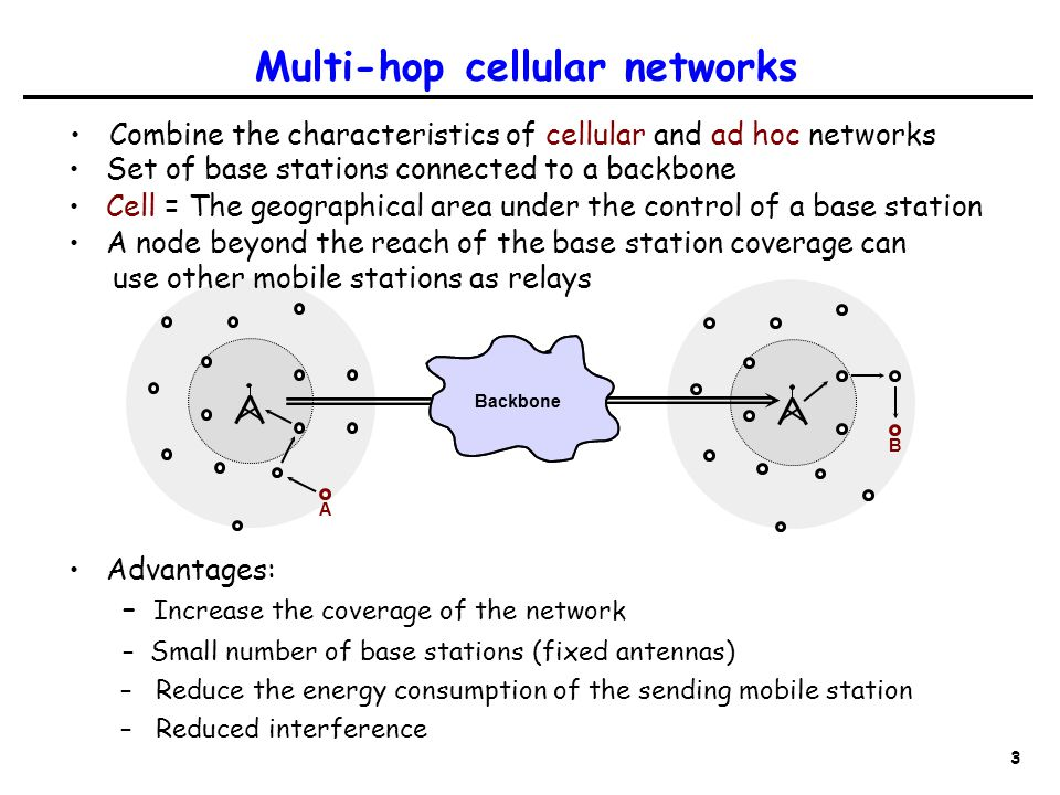 3 Cell = The geographical area under the control of a base station A node beyond the reach of the base station coverage can use other mobile stations as relays Multi-hop cellular networks Combine the characteristics of cellular and ad hoc networks Backbone A B Set of base stations connected to a backbone Backbone Advantages: – Increase the coverage of the network – Small number of base stations (fixed antennas) – Reduce the energy consumption of the sending mobile station – Reduced interference