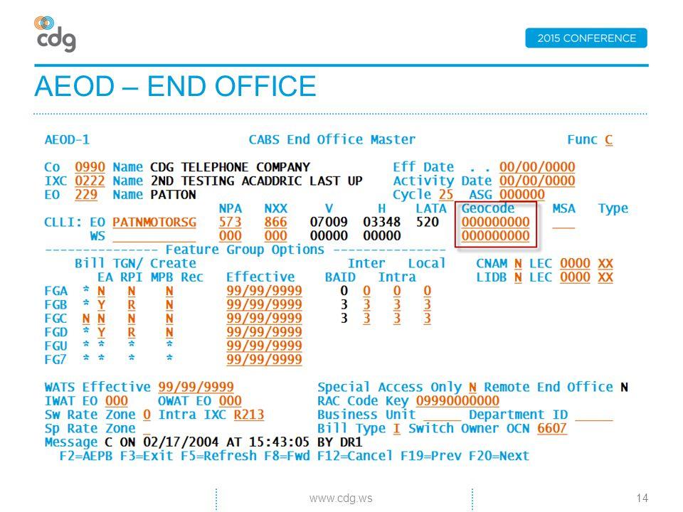 AEOD – END OFFICE 14www.cdg.ws