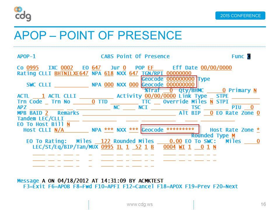 APOP – POINT OF PRESENCE 16www.cdg.ws