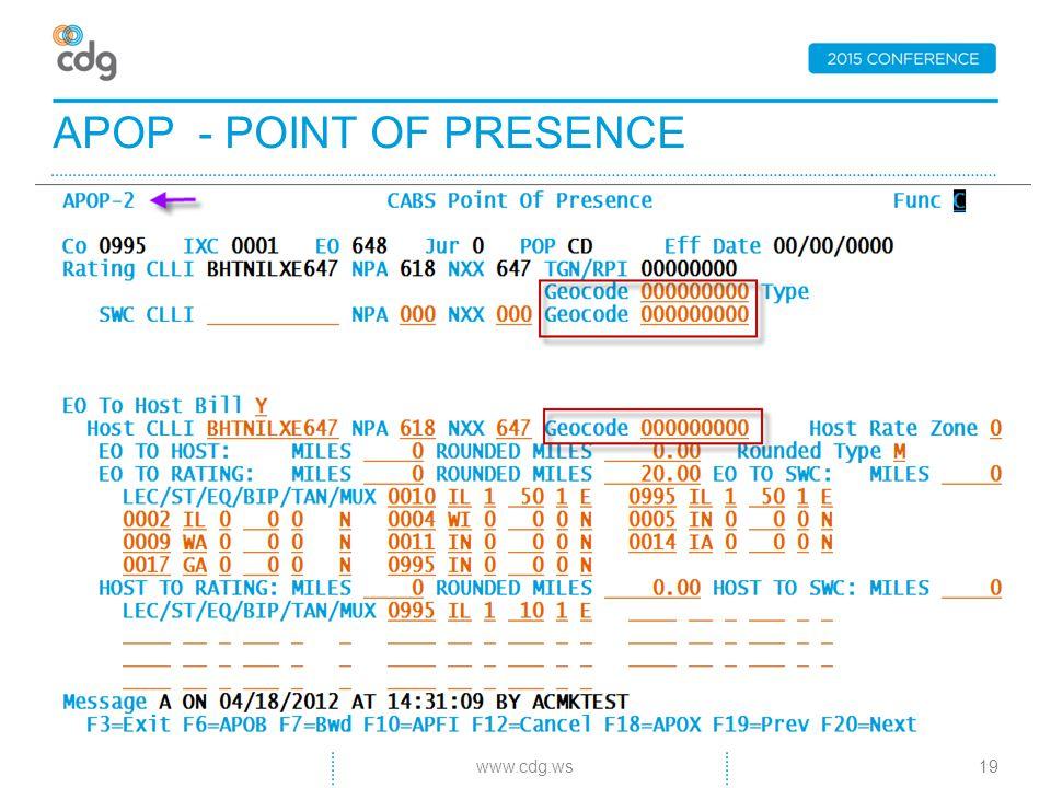 APOP - POINT OF PRESENCE 19www.cdg.ws