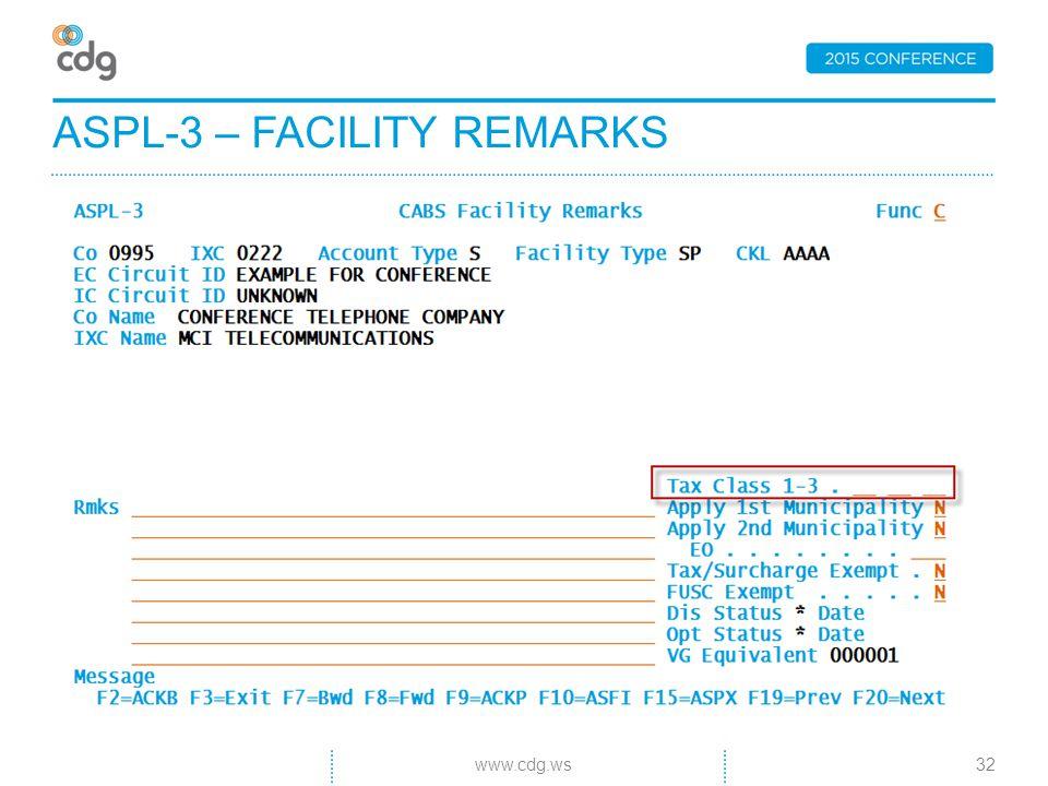 ASPL-3 – FACILITY REMARKS 32www.cdg.ws
