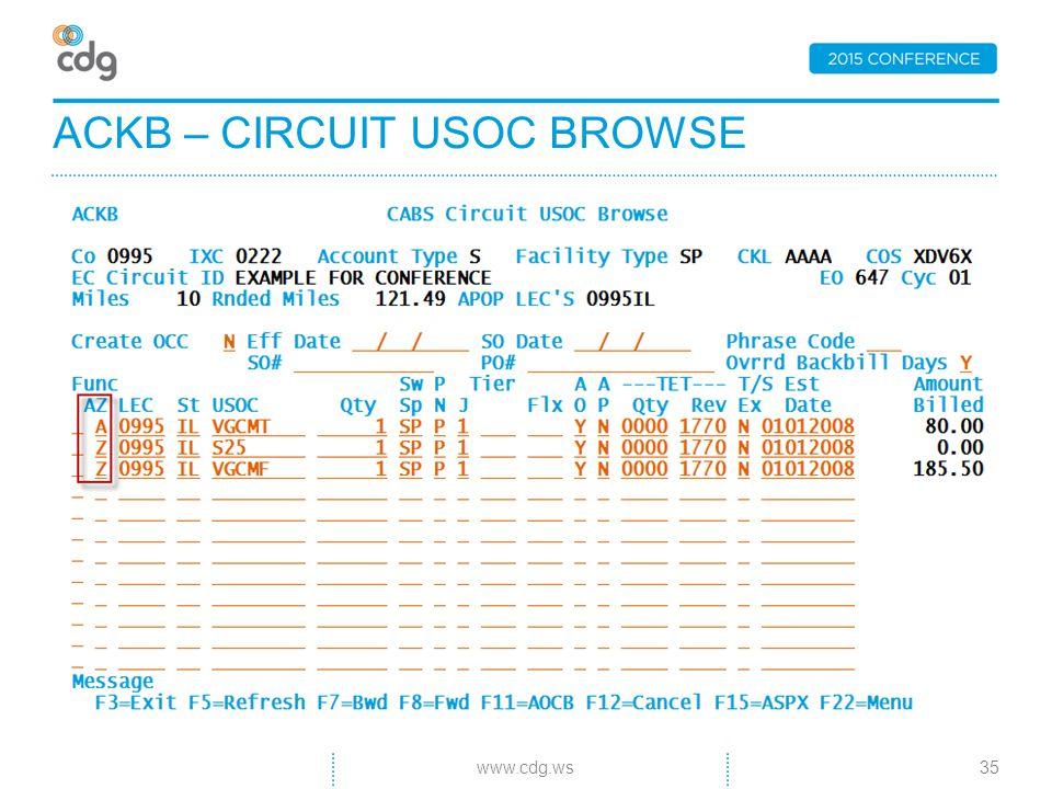ACKB – CIRCUIT USOC BROWSE 35www.cdg.ws