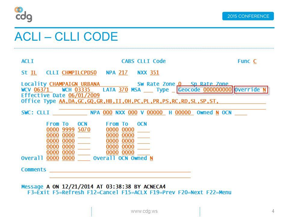 ACLI – CLLI CODE 4www.cdg.ws