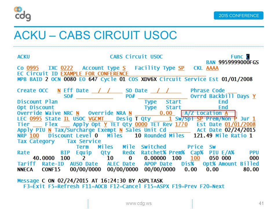 ACKU – CABS CIRCUIT USOC 41www.cdg.ws