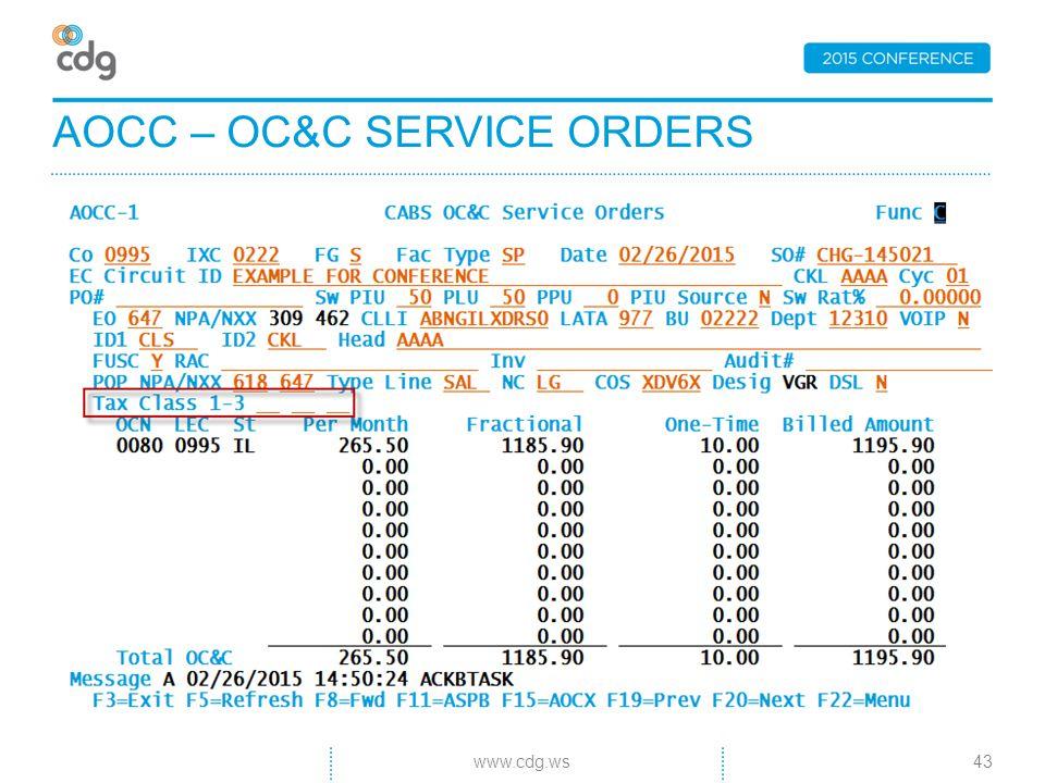 AOCC – OC&C SERVICE ORDERS 43www.cdg.ws