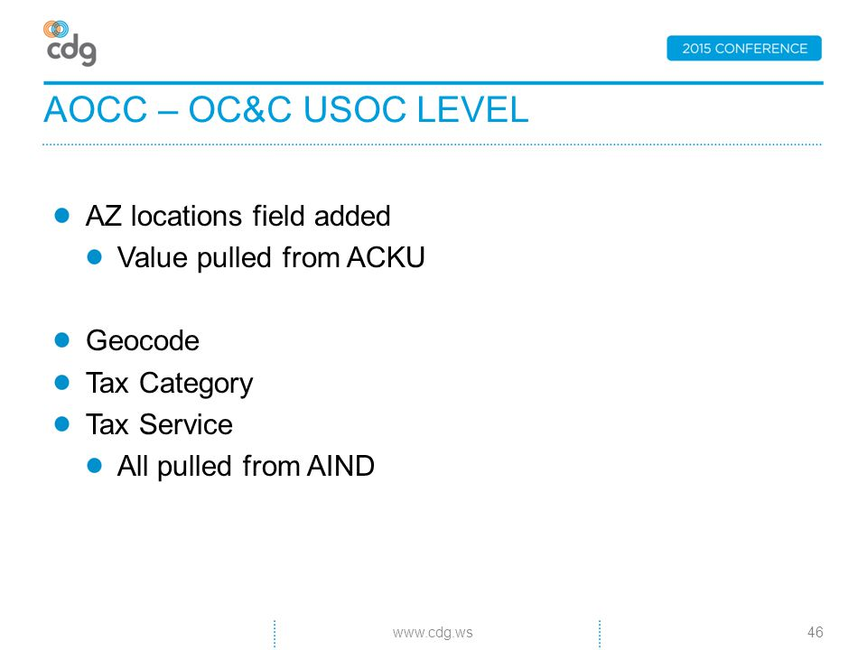 AZ locations field added Value pulled from ACKU Geocode Tax Category Tax Service All pulled from AIND AOCC – OC&C USOC LEVEL 46www.cdg.ws