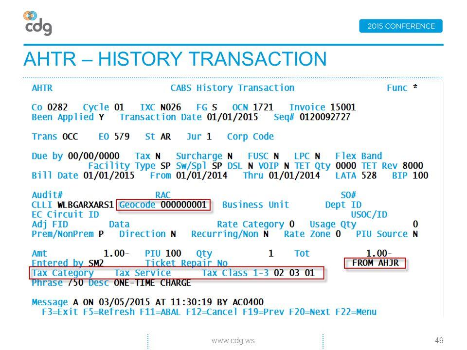 AHTR – HISTORY TRANSACTION 49www.cdg.ws