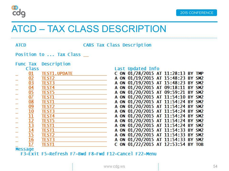 ATCD – TAX CLASS DESCRIPTION 54www.cdg.ws