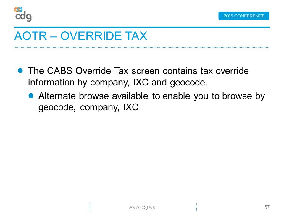 The CABS Override Tax screen contains tax override information by company, IXC and geocode.