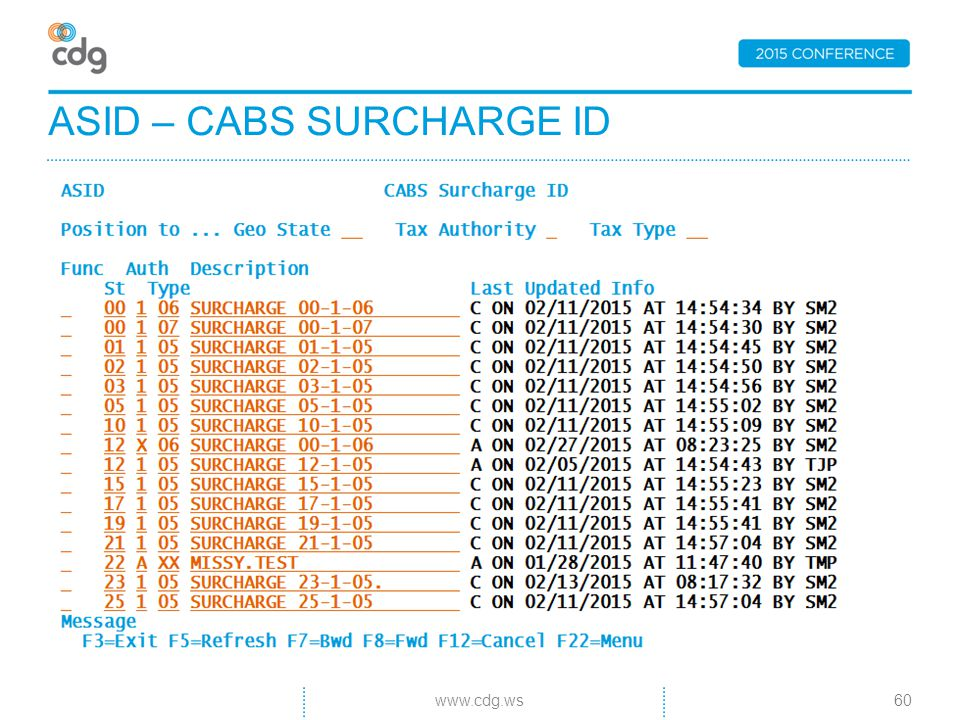 ASID – CABS SURCHARGE ID 60www.cdg.ws