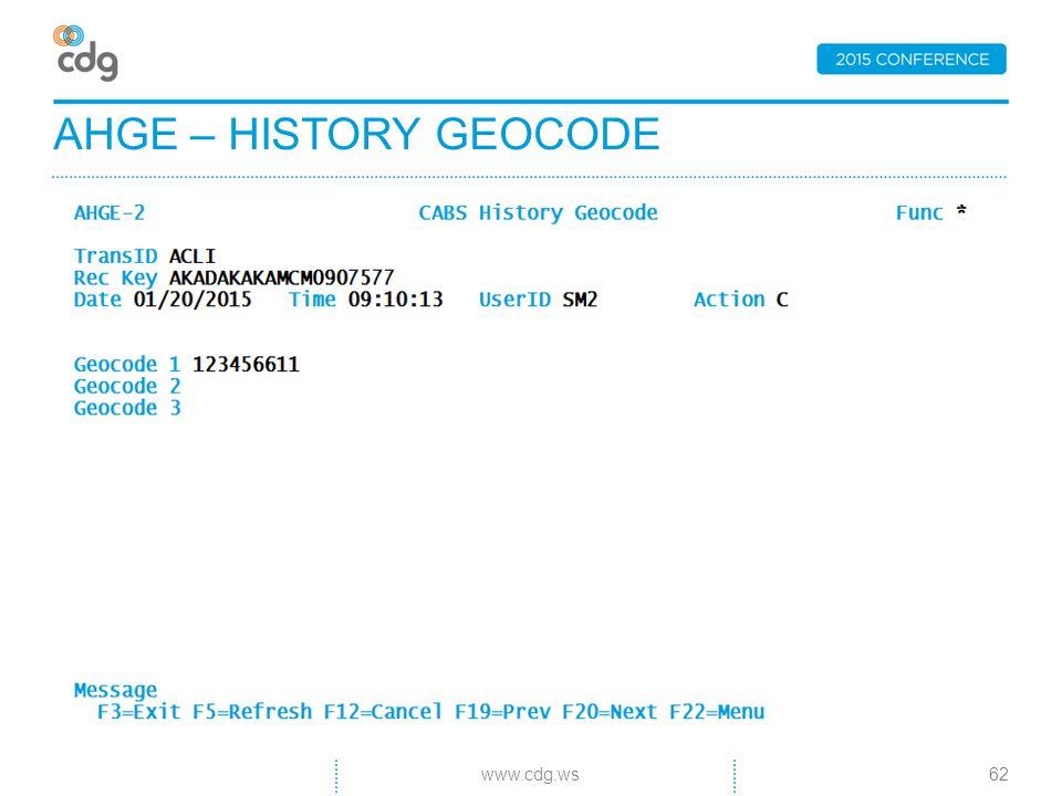 AHGE – HISTORY GEOCODE 62www.cdg.ws