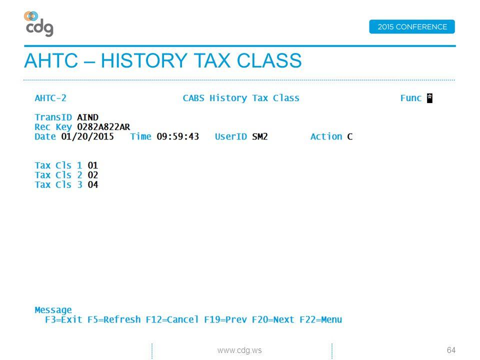 AHTC – HISTORY TAX CLASS 64www.cdg.ws