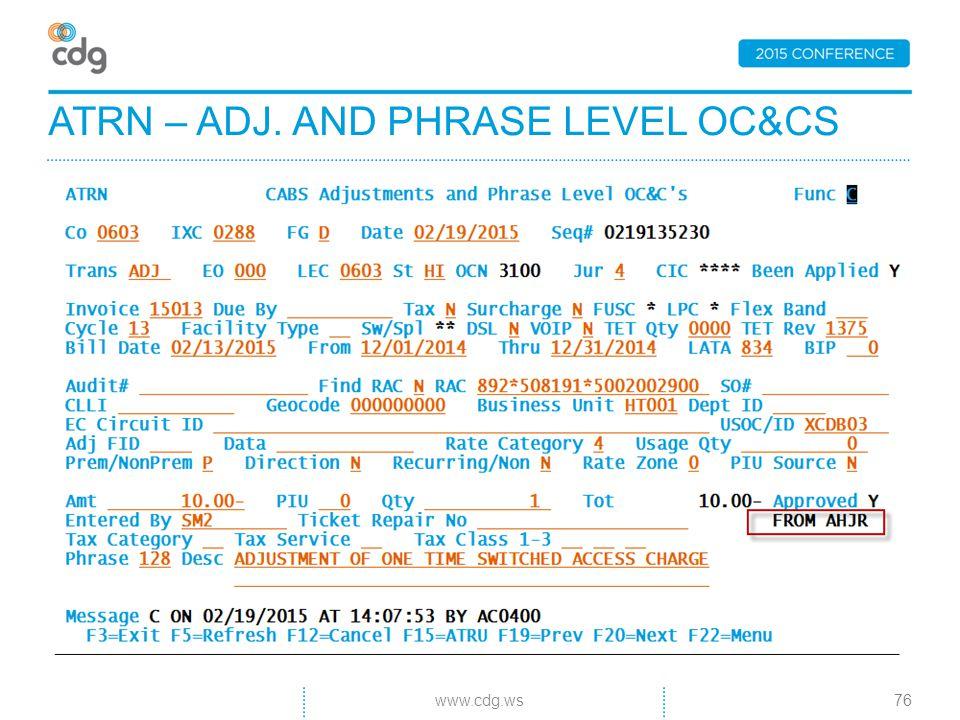 ATRN – ADJ. AND PHRASE LEVEL OC&CS 76www.cdg.ws