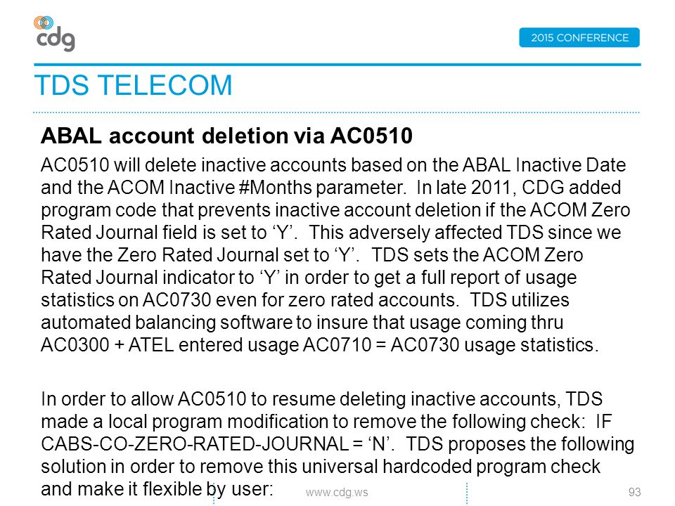 ABAL account deletion via AC0510 AC0510 will delete inactive accounts based on the ABAL Inactive Date and the ACOM Inactive #Months parameter.