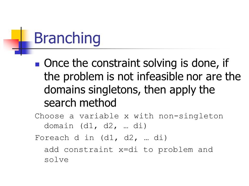 Branching Once the constraint solving is done, if the problem is not infeasible nor are the domains singletons, then apply the search method Choose a variable x with non-singleton domain (d1, d2, … di) Foreach d in (d1, d2, … di) add constraint x=di to problem and solve