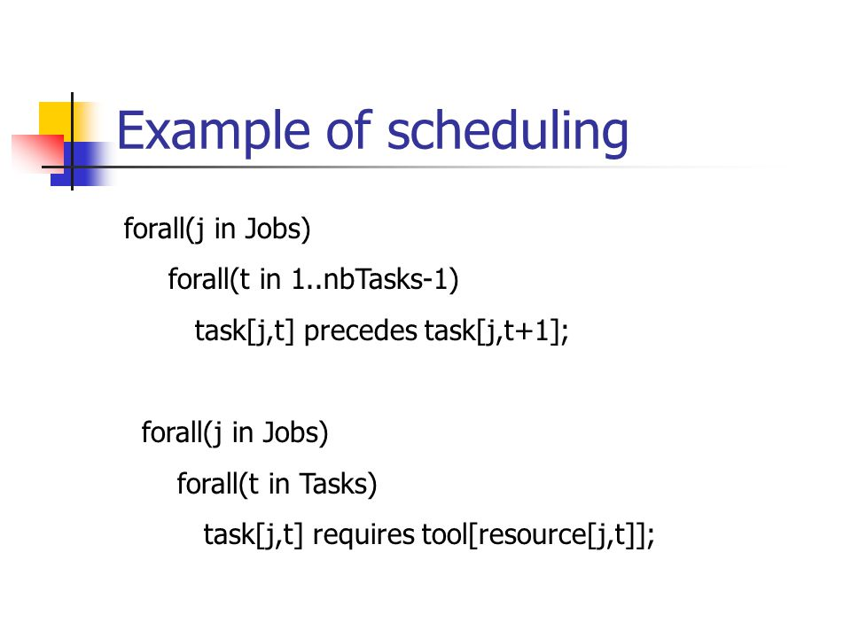 Example of scheduling forall(j in Jobs) forall(t in 1..nbTasks-1) task[j,t] precedes task[j,t+1]; forall(j in Jobs) forall(t in Tasks) task[j,t] requires tool[resource[j,t]];
