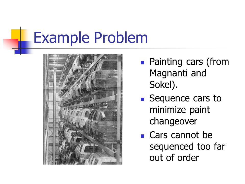 Example Problem Painting cars (from Magnanti and Sokel).