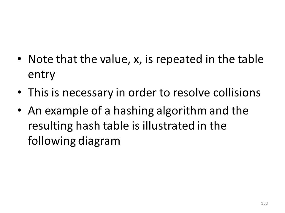 Note that the value, x, is repeated in the table entry This is necessary in order to resolve collisions An example of a hashing algorithm and the resulting hash table is illustrated in the following diagram 150