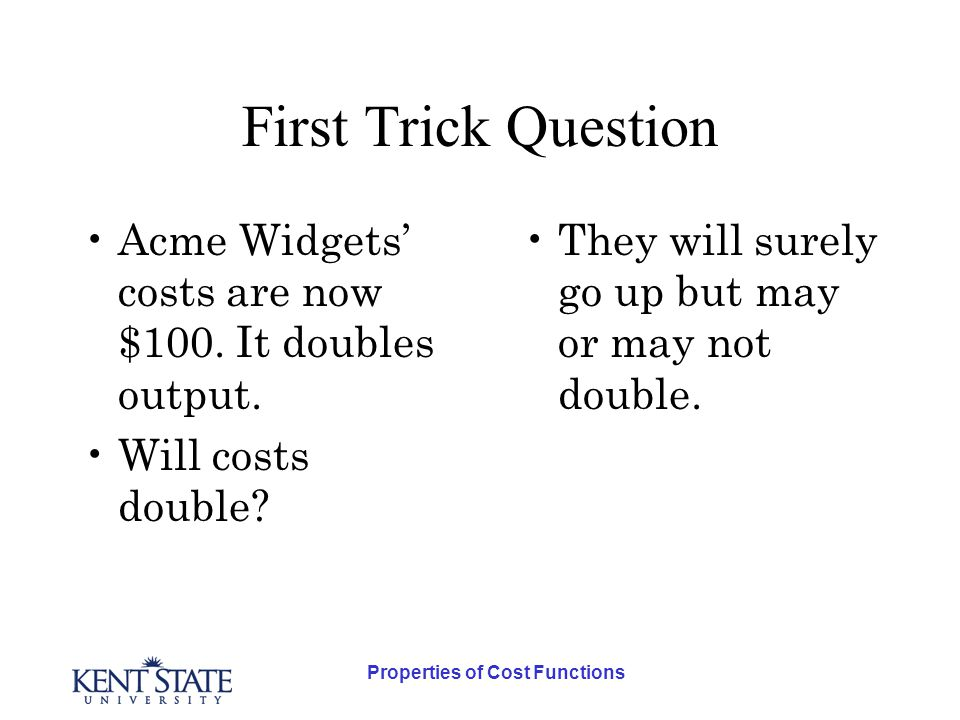 Properties of Cost Functions Third Trick Question Is it possible that higher wage rates will to enough substitution to lower total costs for the given level of output.