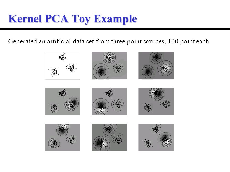 Kernel PCA Toy Example Generated an artificial data set from three point sources, 100 point each.