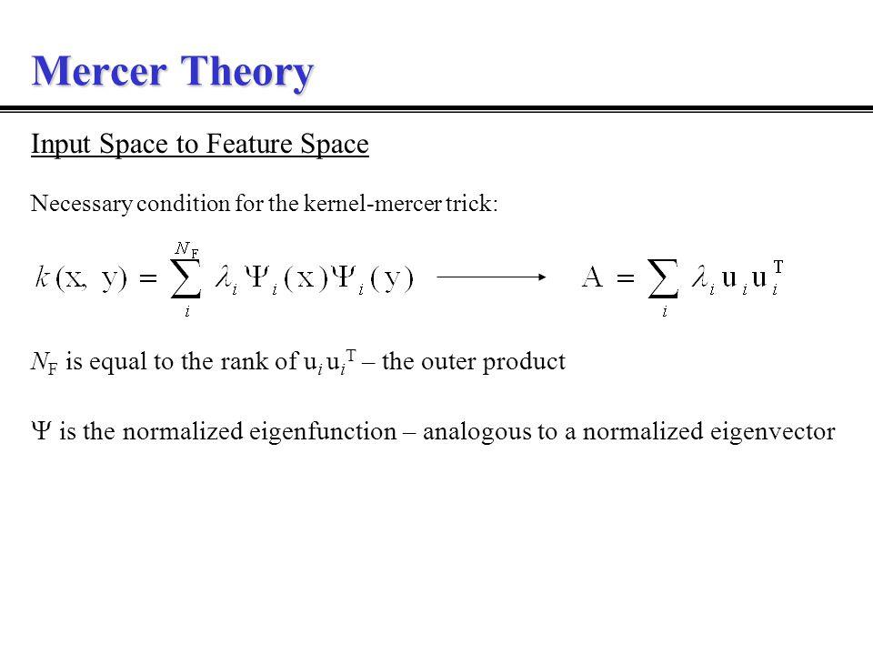 Mercer :: Linear Algebra Linear algebra analogy: Eigenvector problem Eigenfunction problem x and y are vectors u is the normalized eigenvector is the eigenvalue  is the normalized eigenfunction Ak(x,y)k(x,y) u, ,