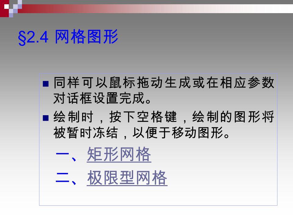 §2.4 网格图形 同样可以鼠标拖动生成或在相应参数 对话框设置完成。 绘制时,按下空格键,绘制的图形将 被暂时冻结,以便于移动图形。 一、矩形网格矩形网格 二、极限型网格极限型网格