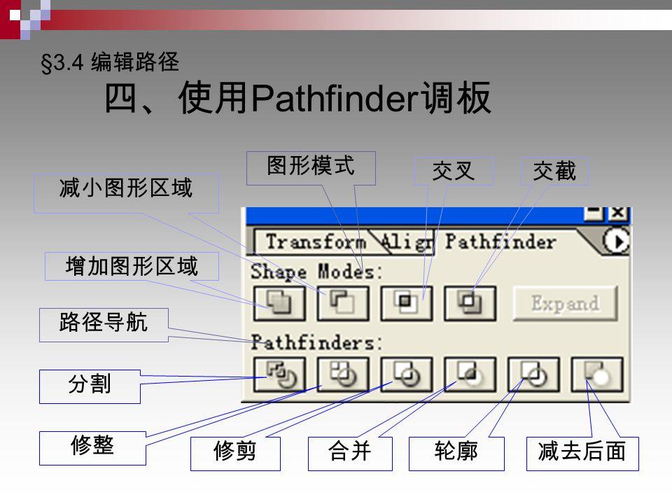 §3.4 编辑路径 四、使用 Pathfinder 调板 图形模式 路径导航 增加图形区域 减小图形区域 交叉交截 分割 修整 减去后面 合并 修剪 轮廓
