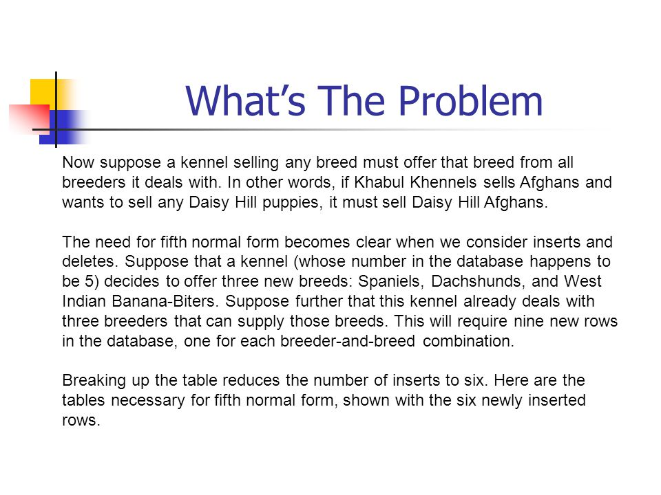 What's The Problem Now suppose a kennel selling any breed must offer that breed from all breeders it deals with. In other words, if Khabul Khennels se