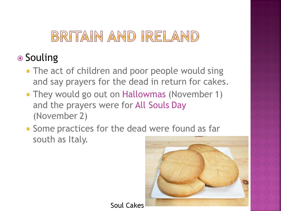  Souling  The act of children and poor people would sing and say prayers for the dead in return for cakes.